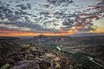Red Photograph - Rio Grande River Sunrise 2 - White Rock New Mexico by Brian Harig
