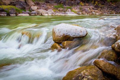 Digital Art - Rio Grande Rocky Flow by SR Green