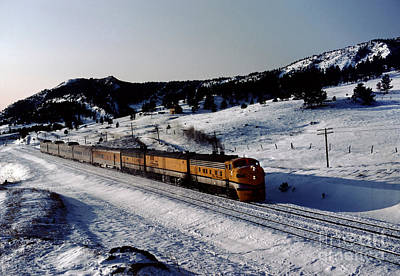 Photograph - Rio Grande Zephyr Trainset In The Snow, Plainview Colorado, 1983 by Wernher Krutein