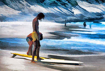 Rio Surfers Art Print by Dennis Cox