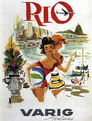 Rio Vintage Travel Varig Airlines C. 1960 Art Print by Daniel Hagerman