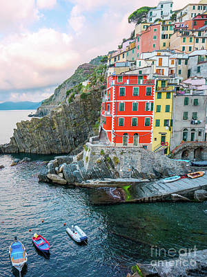 Photograph - Riomaggiore Cinque Terre Italy Cliffside Village Sunrise by Christy Woodrow