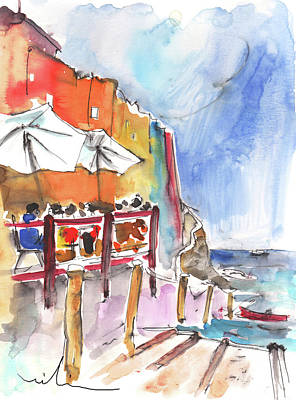 Impressionism Drawings - Riomaggiore in Italy 03 by Miki De Goodaboom