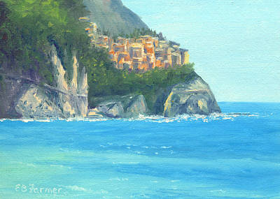 Riomaggiore Painting - Riomaggiore Italy, Cinque Terre by Elaine Farmer