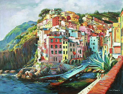 Fishing Village Painting - Riomaggiore Italy by Conor McGuire