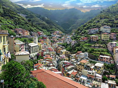 Photograph - Riomaggiore Town View by Anthony Dezenzio