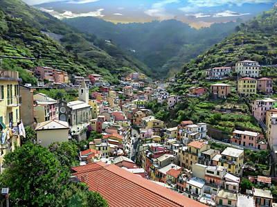 Photograph - Riomaggiore Town View by Anthony Dezenzio