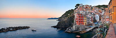 Photograph - Riomaggiore Waterfront Panorama View by Songquan Deng