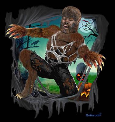 Digital Art - Rip Roaring Werewolf by Glenn Holbrook