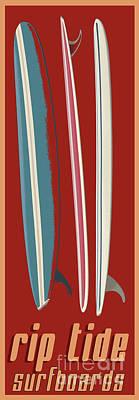 Digital Art - Rip Tide Surfboards Vintage by Edward Fielding