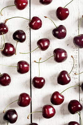 Ripe Cherry On The Rustic Background  Art Print by Vadim Goodwill