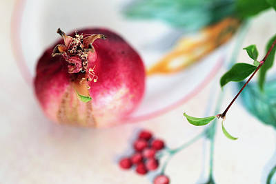 Photograph - Ripe Pomegranate On Ornate Plate by Yana Shonbina