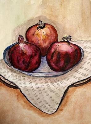 Ripe Pomegranates . Art Print by Shlomo Zangilevitch