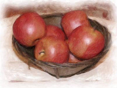 Ripe Red Apples Art Print by Susan  Lipschutz