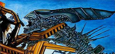 Art Print featuring the painting Ripley Vs Queen Up Close And Personal by Al  Molina