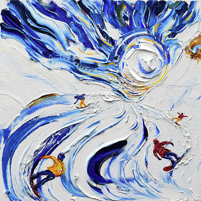 Powder Skiing Painting - Rippin by Pete Caswell