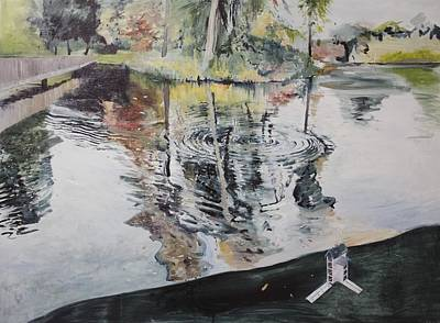 Reflecting Water Painting - Ripples And Birdhouse by Calum McClure