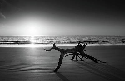 Jekyll Island Photograph - Ripples At Sunrise In Black And White by Chrystal Mimbs