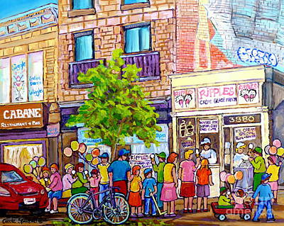 Montreal Cityscapes Painting - Ripples Ice Cream Shop Rue St Laurent Street Party Balloon Fun Montreal Art Carole Spandau by Carole Spandau