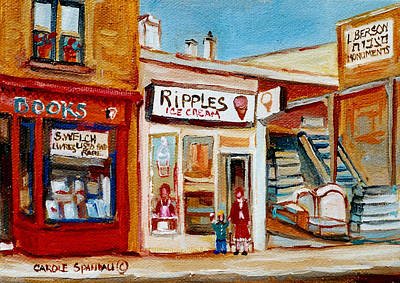 Quebec Streets Painting - Ripples Icecream  by Carole Spandau