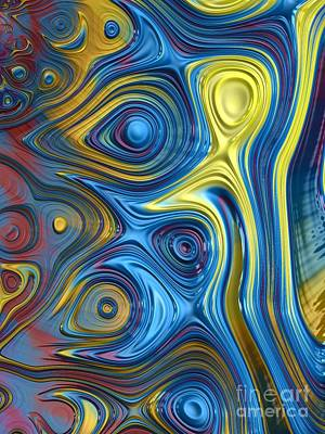 Abstract Shapes Digital Art - Ripples In A Rainbow by John Edwards