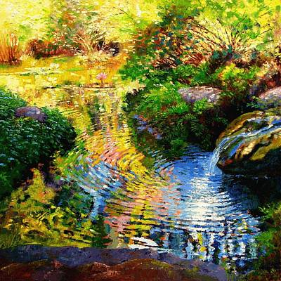 Refection Painting - Ripples On A Quiet Pond by John Lautermilch