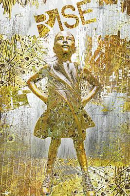 City Scenes Mixed Media - Rise Fearless Girl by Tony Rubino