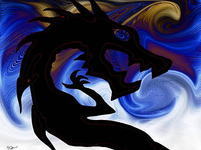Dragon Painting - Rise Of Serpentarius, The 13th Sign by Abstract Angel Artist Stephen K