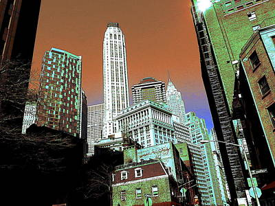 Drawing - Rising High - New York Wall Street Skyline by Peter Potter