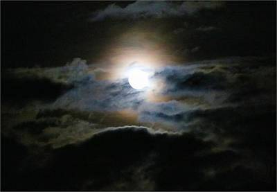 Photograph - Rising Moon In Clouds by Kathryn Meyer