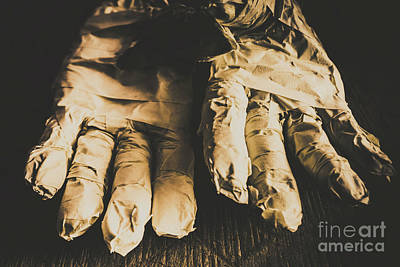 Rising Mummy Hands In Bandage Art Print