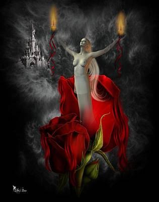 Digital Art - Rising Rose Godess 2 by Ali Oppy