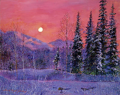 Winter Scene Artists Painting - Rising Snow Moon by David Lloyd Glover