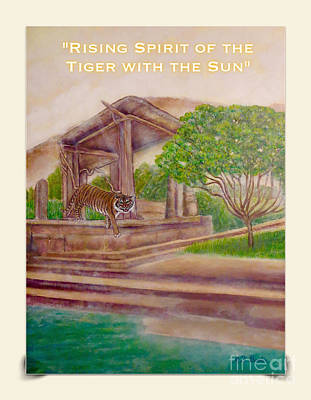 Mixed Media - Rising Spirit Of The Tiger With The Sun Card Poster by Kimberlee Baxter