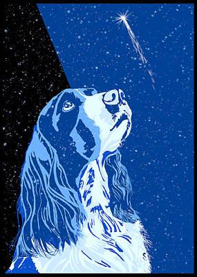 Dog Christmas Card Digital Art - Rising Star by Melody Carranza