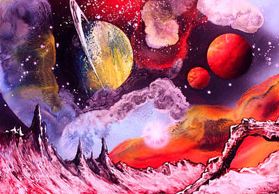 Outer Space Painting - Rising Star  by Tony Vegas