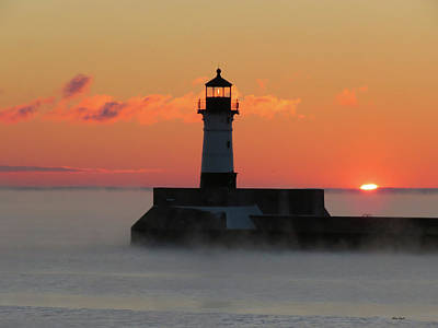 Duluth Photograph - Rising Sun And Sea Smoke by Alison Gimpel