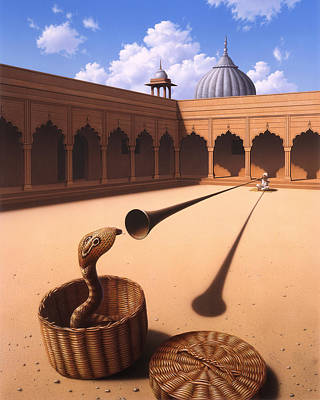 Snake Charmer Painting - Risk Management by Jerry LoFaro