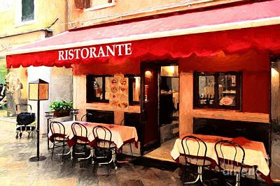 Green Color Of Restaurants Photograph - Ristorante In Venice by Mel Steinhauer