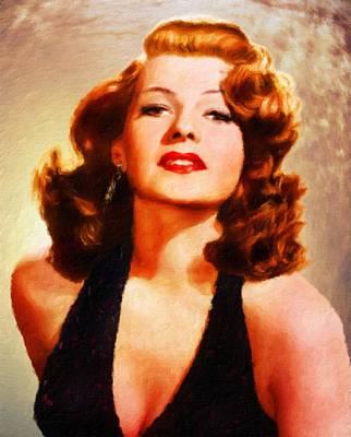 Rita Painting - Rita Hayworth By Js by John Springfield
