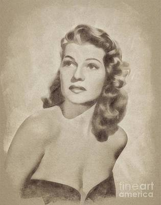 Musicians Drawings - Rita Hayworth, Vintage Actress by John Springfield by Esoterica Art Agency