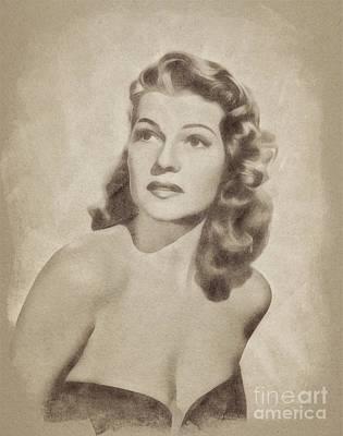 Rita Hayworth Drawing - Rita Hayworth, Vintage Actress By John Springfield by John Springfield