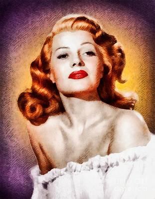 Rita Painting - Rita Hayworth, Vintage Actress by John Springfield