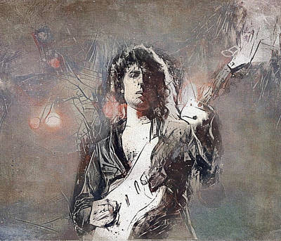 Digital Art - Ritchie Blackmore Deep Purple Portrait 2 by Yury Malkov