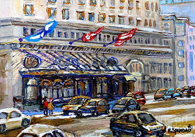 Montreal Memories. Painting - Ritz Carlton Paintings Montreal Memories 3 Flags Rue Sherbrooke Best Canadian Original Art For Sale  by Carole Spandau