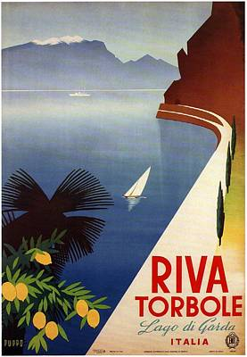 Royalty-Free and Rights-Managed Images - Riva Torbole - View of the Lake Garda in Italy - Illustrated Vintage Poster by Studio Grafiikka