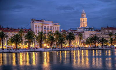 Photograph - Riva Waterfront, Houses And Cathedral Of Saint Domnius, Dujam, Duje, Bell Tower Old Town By Night, Split, Croatia, Hdr by Elenarts - Elena Duvernay photo