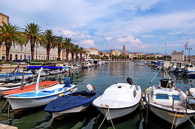 Riva Waterfront, Houses And Cathedral Of Saint Domnius, Dujam, Duje, Bell Tower Old Town, Split, Croatia Art Print by Elenarts - Elena Duvernay photo