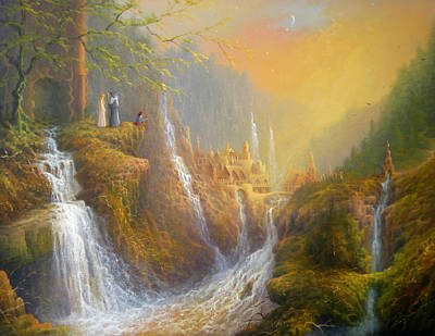 The Shire Painting - Rivendell Wisdom Of The Elves. by Joe  Gilronan