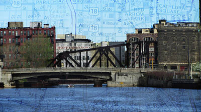 Photograph - River And Bascule Bridge W Map by Anita Burgermeister